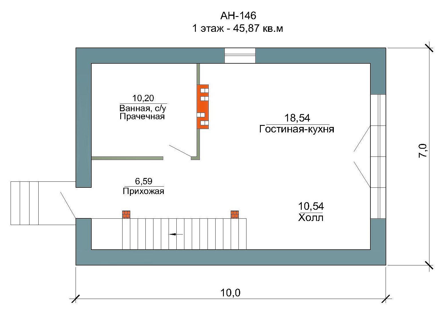Готовый проект дома 97 кв.м // Артикул АН-146 план