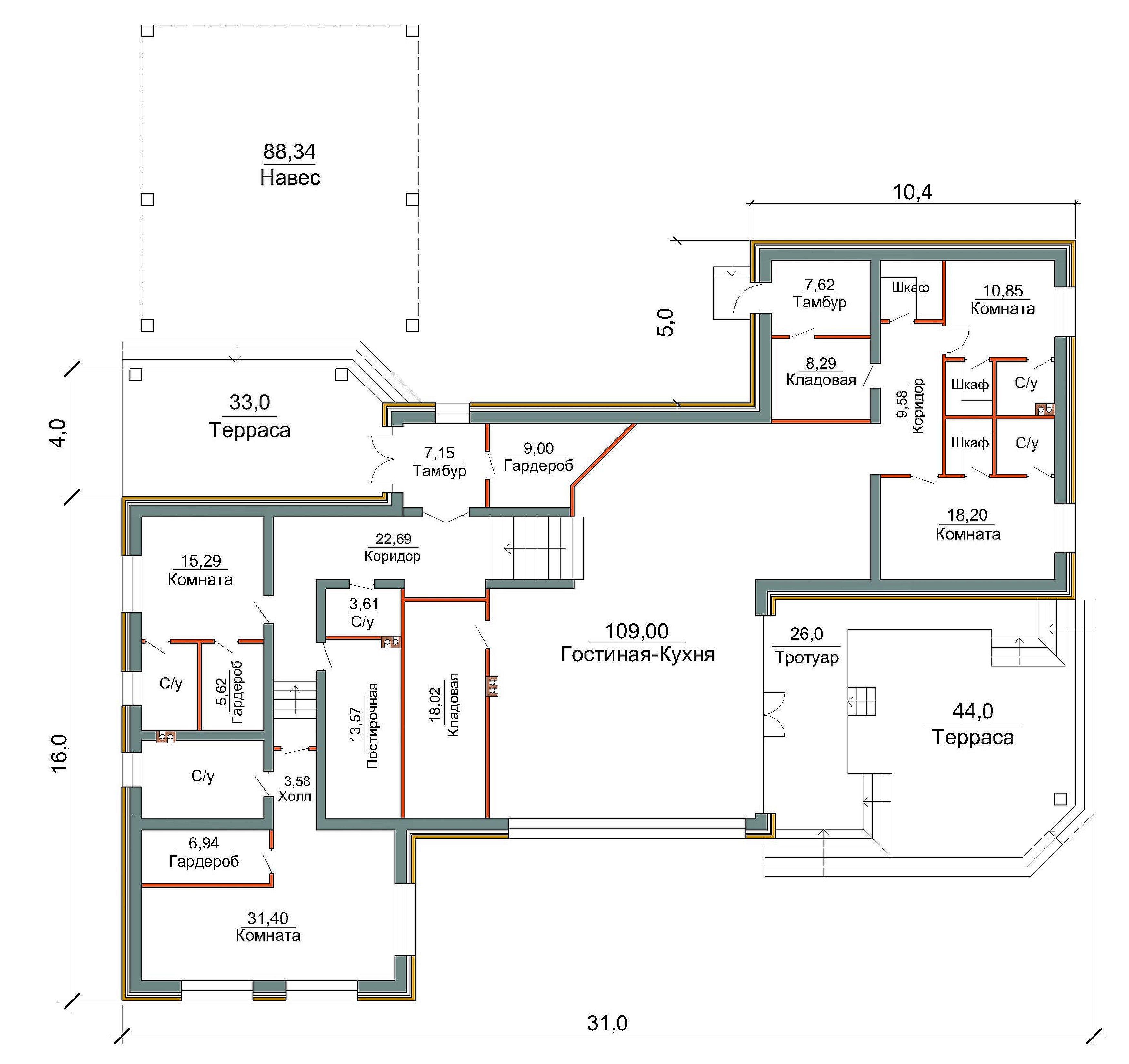 Готовый проект особняка 330 кв.м / ДК-156 план