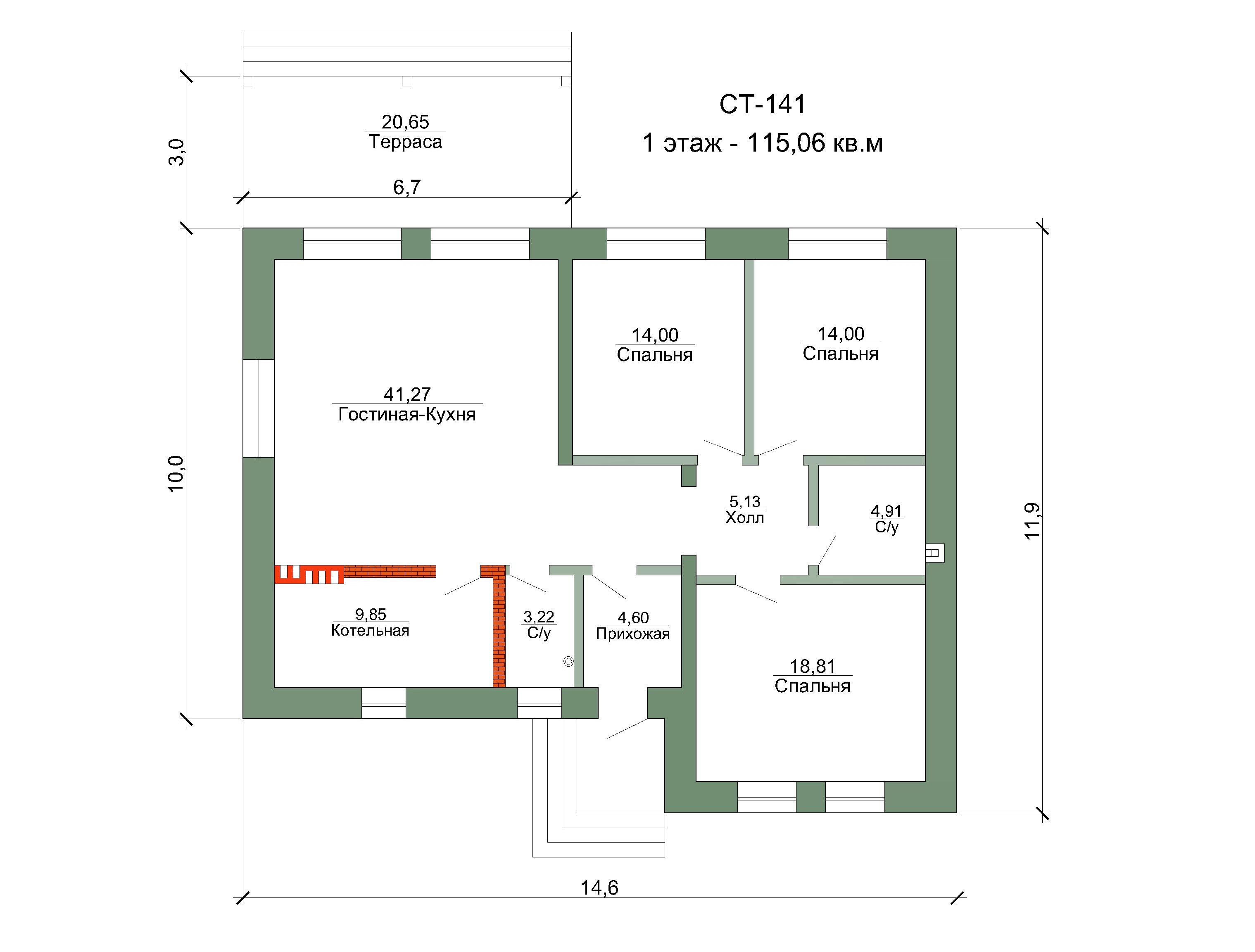 Готовый проект дома 115 кв.м // Артикул СТ-141 план