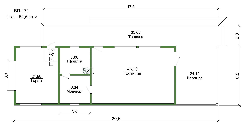 Проект мини-шале с баней 62 кв.м // Артикул ВП-171 план