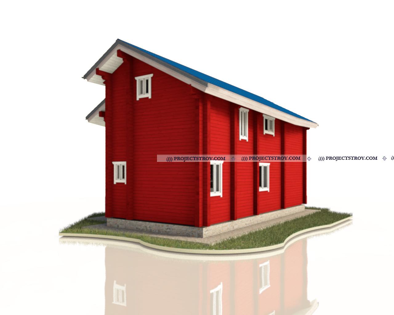 Деревянный дом 7 х 12 м - 124 кв. м фасад