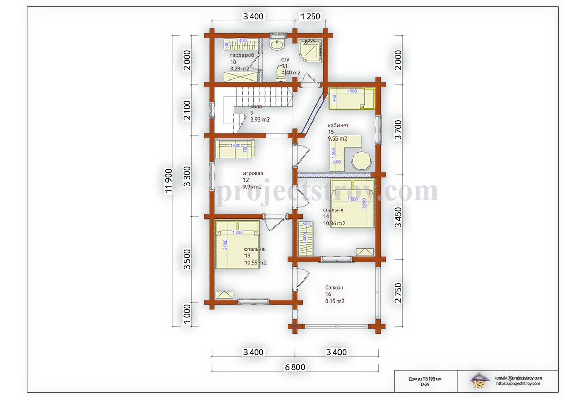 Деревянный дом 7 х 12 м - 124 кв. м план