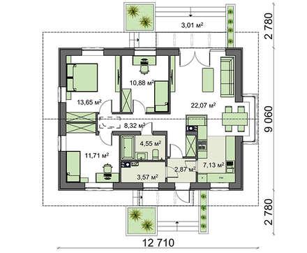 Проект дома 4m3440 план