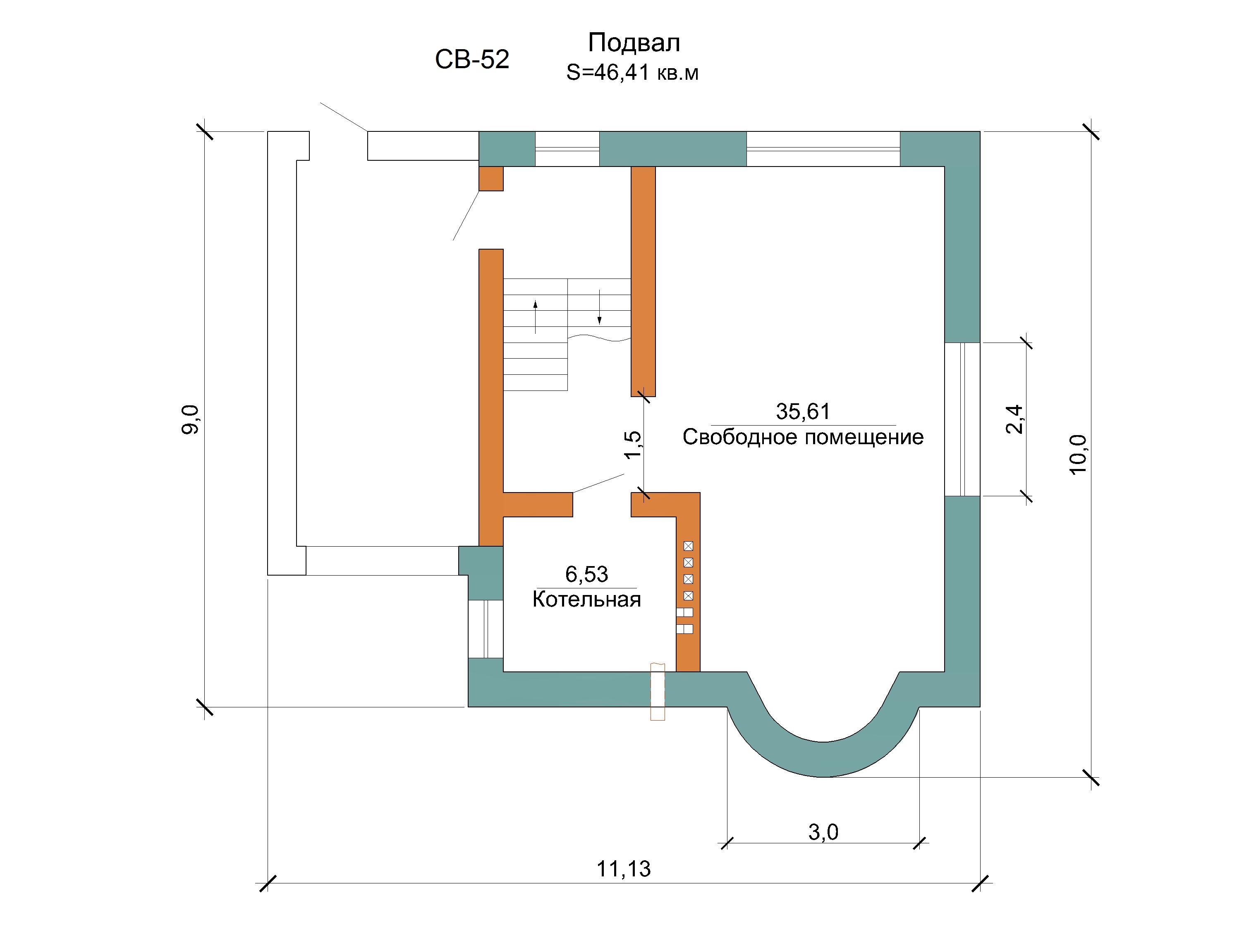 Готовый проект коттеджа 153 кв. м / Артикул СВ-52 план
