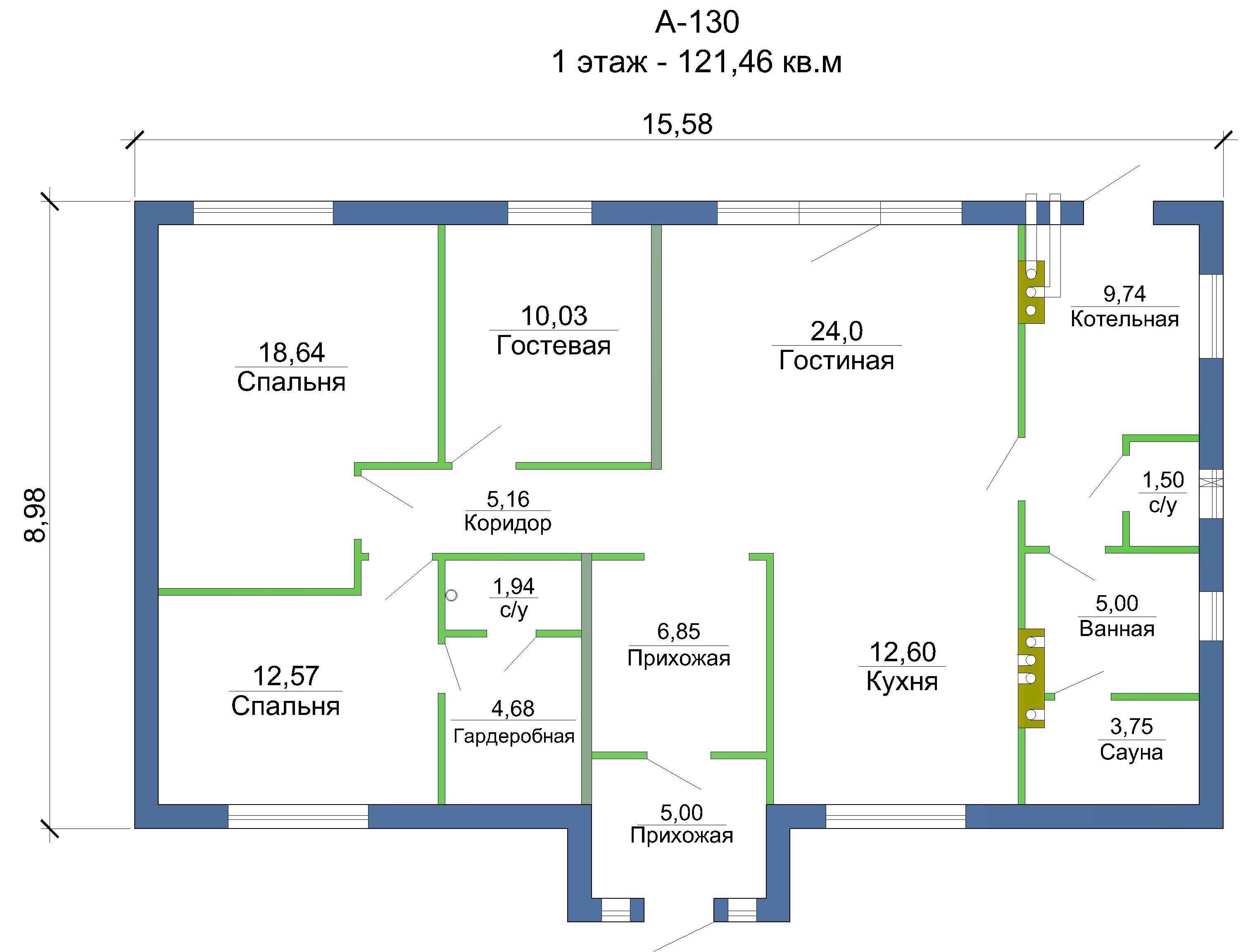 Проект каркасного дома 121 кв. м / Артикул А-130 план