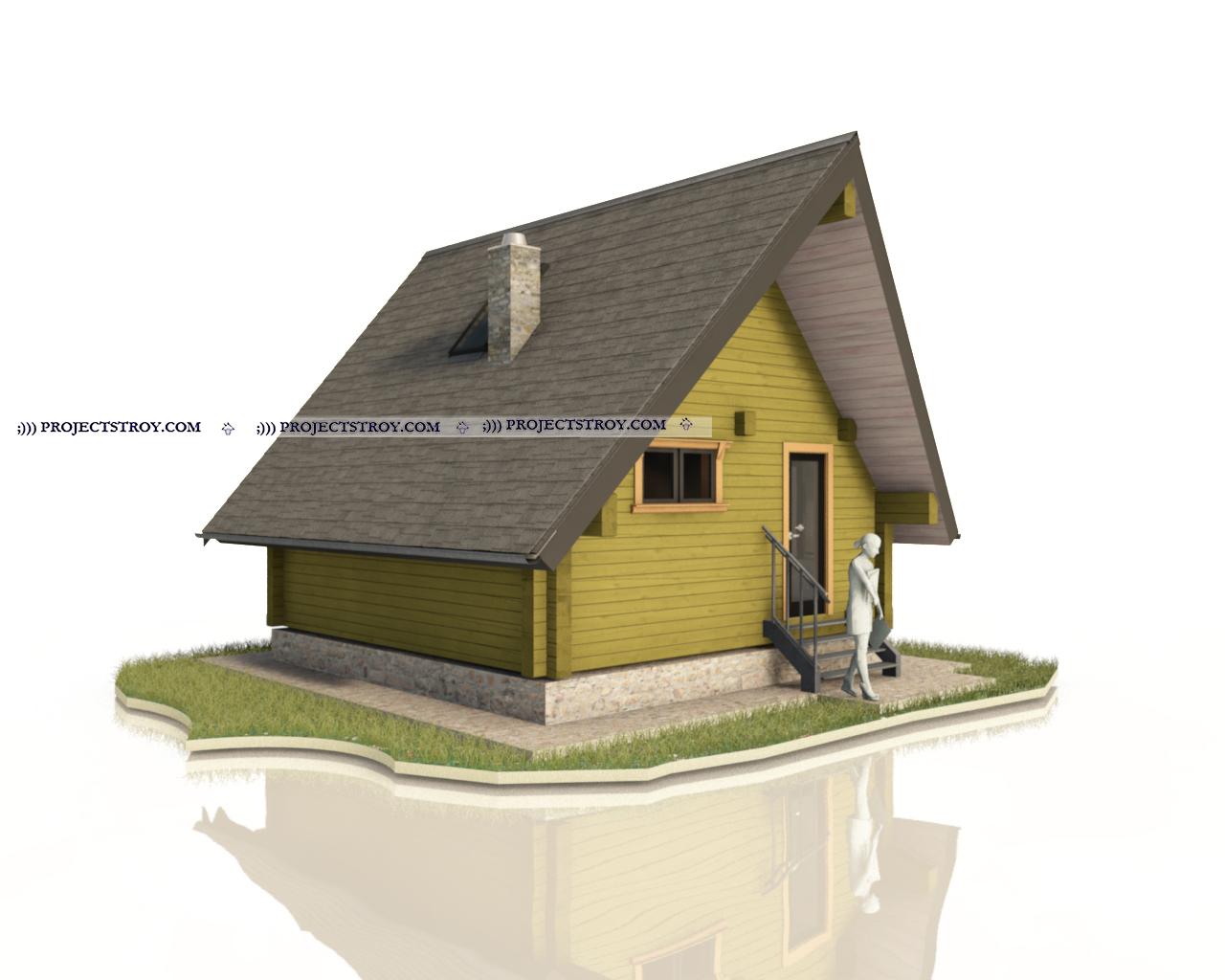 Треугольная баня 6 х 6 м фасад