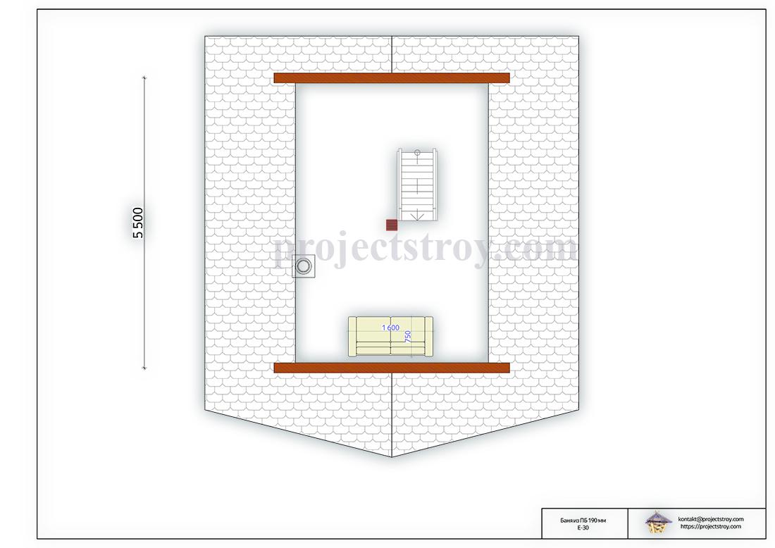 Треугольная баня 6 х 6 м план