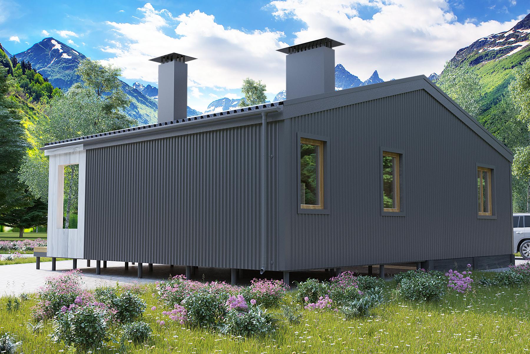 Проект каркасного дома 63 кв.м / Артикул ИВ-174 фасад