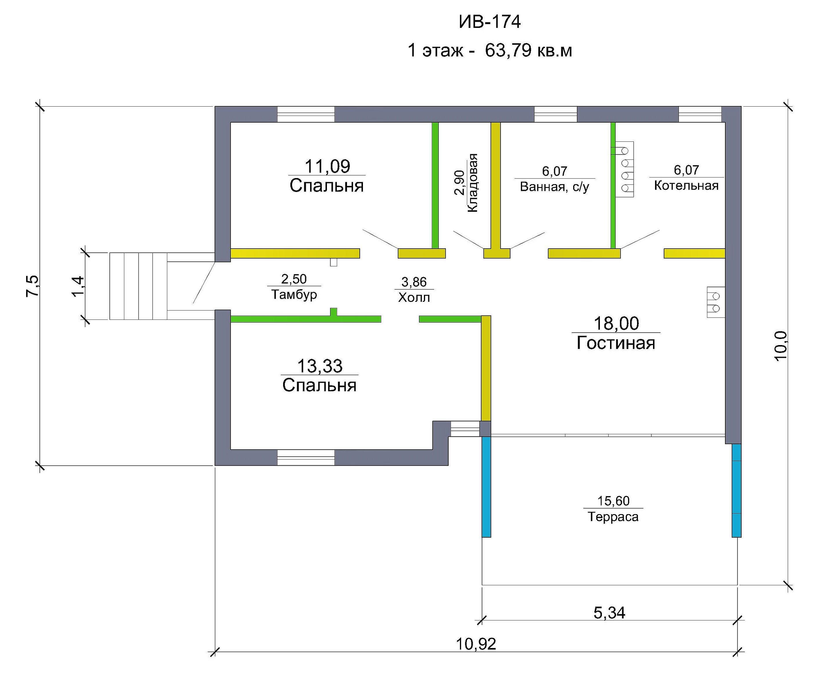 Проект каркасного дома 63 кв.м / Артикул ИВ-174 план
