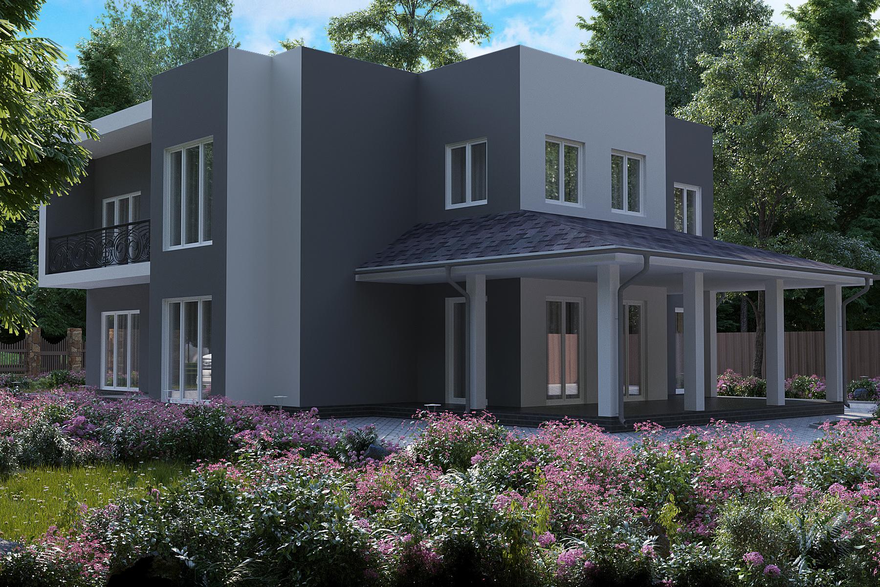 Готовый проект дома 224 кв.м / Артикул АМ-176 фасад
