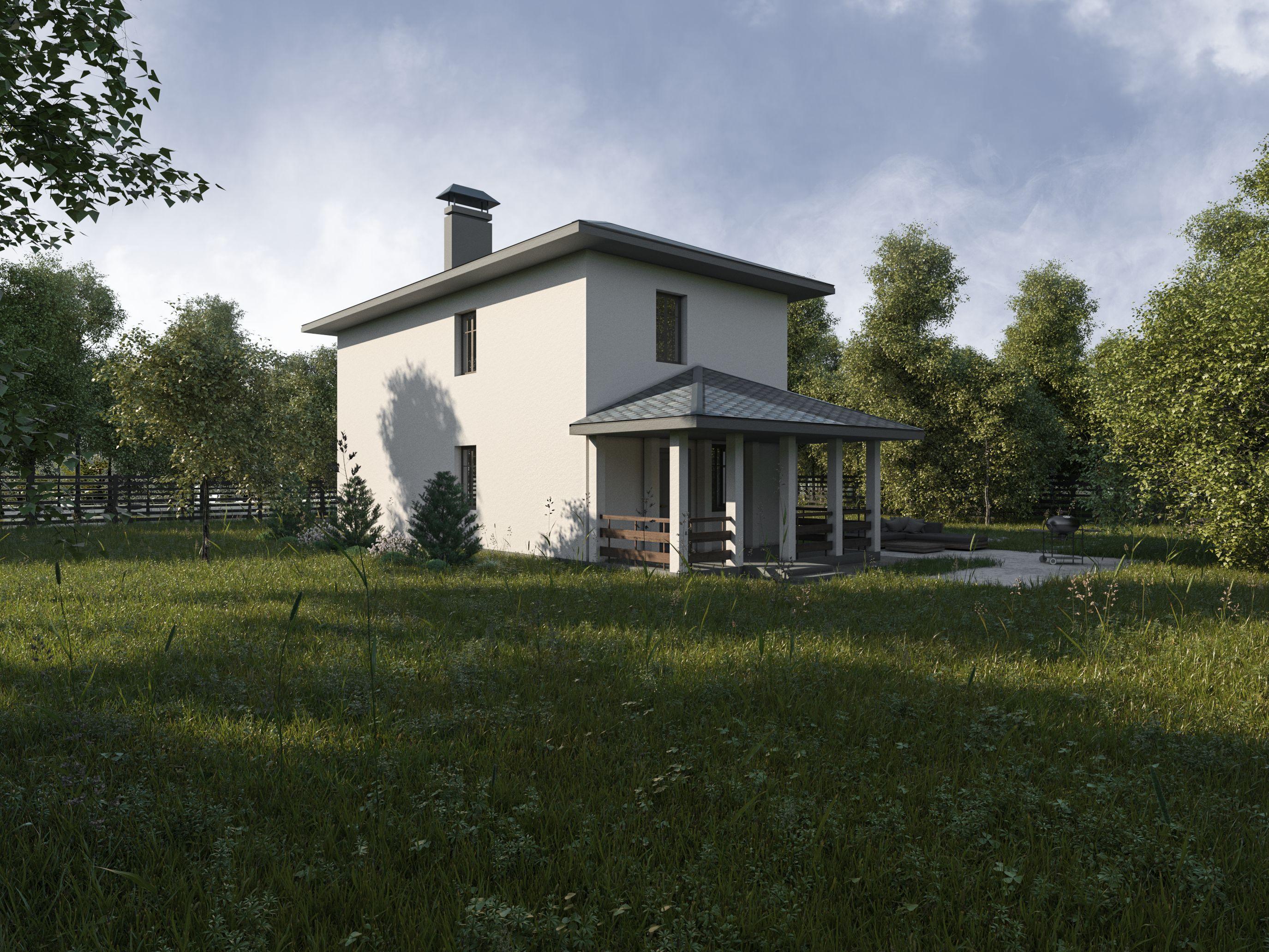 Проект дома для узкого участка - 104 кв.м /Рок-143 фасад