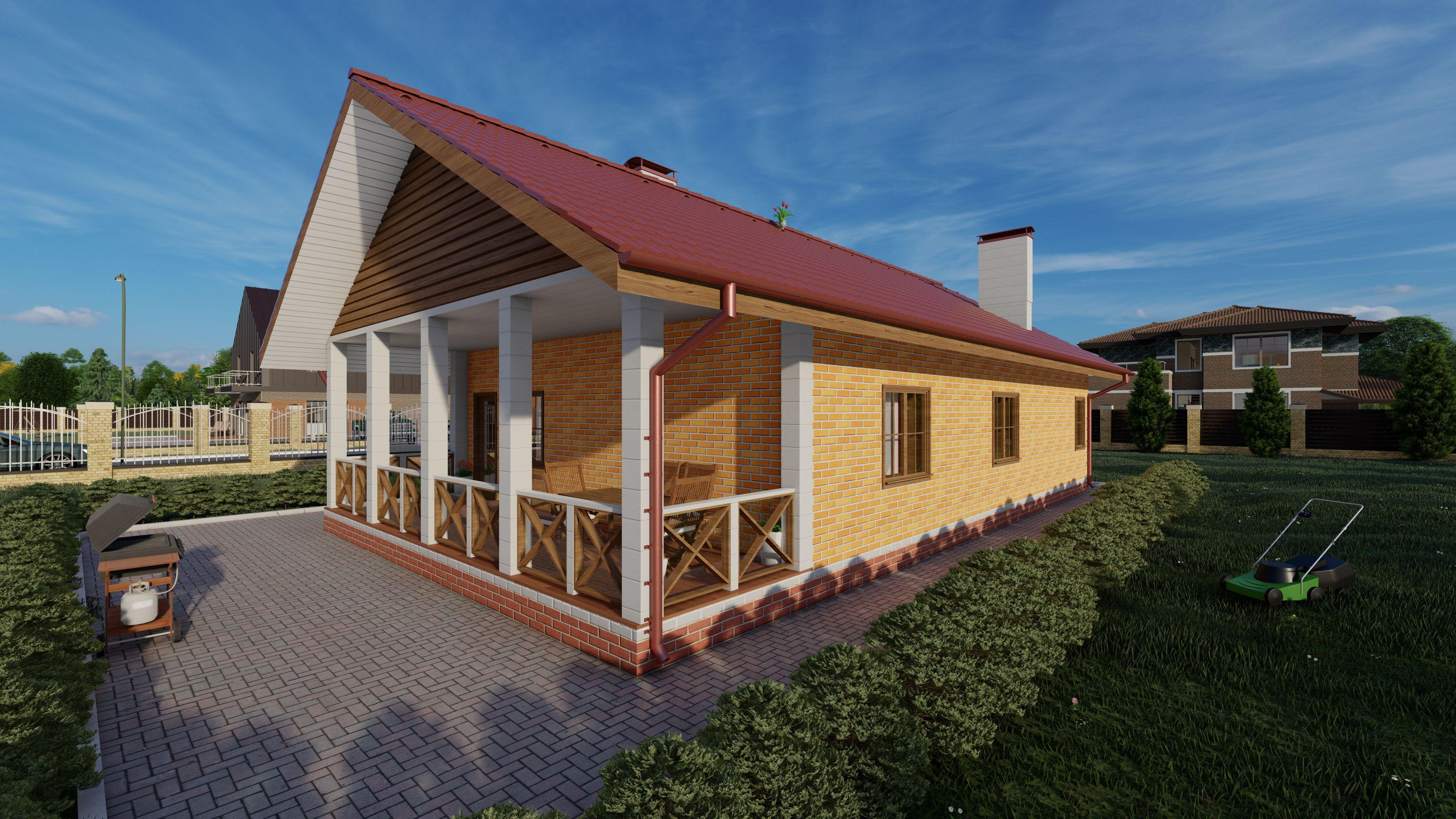 Готовый проект дома 83 кв.м // Артикул АЮ-180 фасад