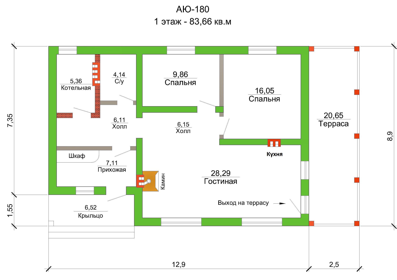Готовый проект дома 83 кв.м // Артикул АЮ-180 план