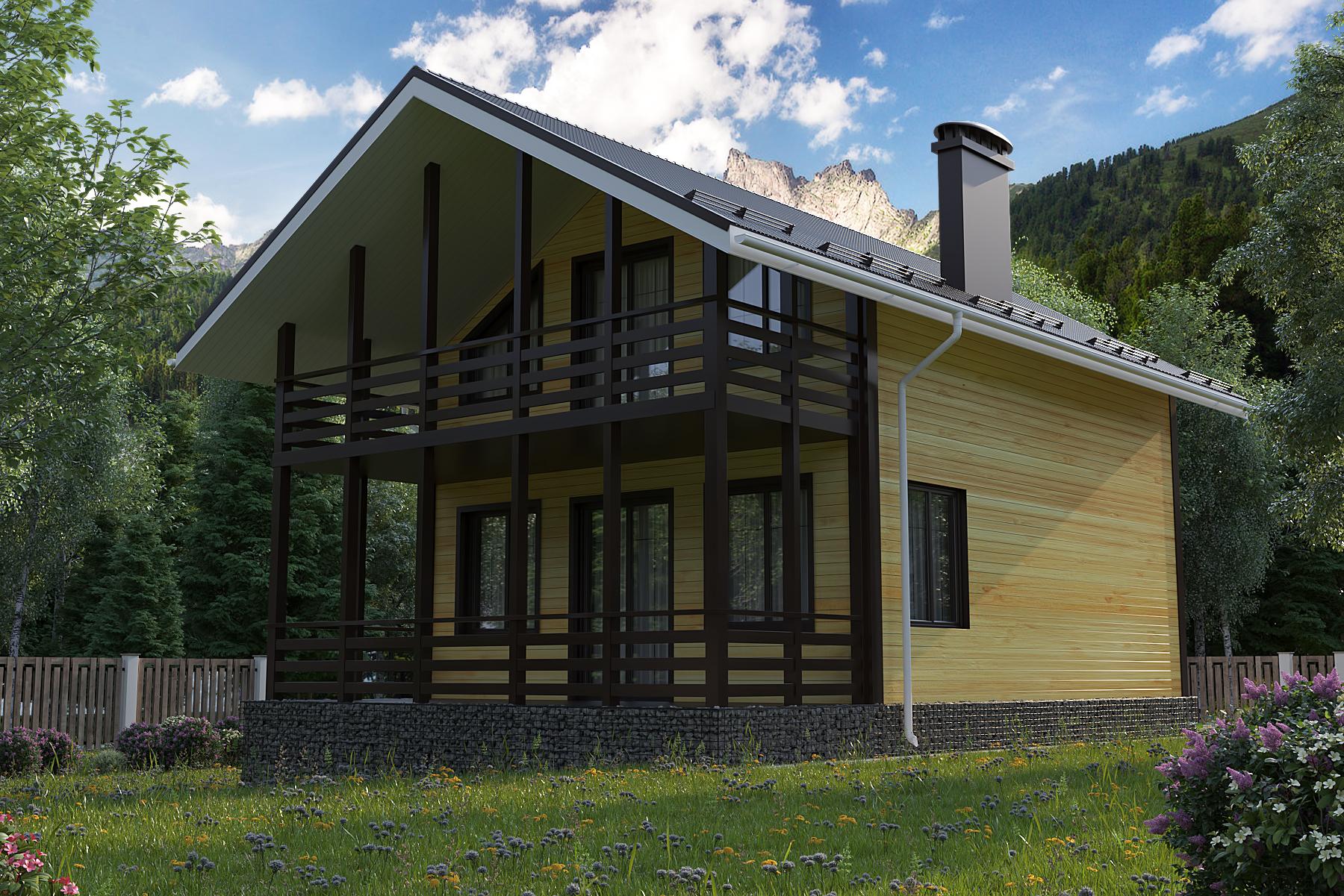 Проект каркасного дома 86 кв.м // Артикул АС-178 фасад