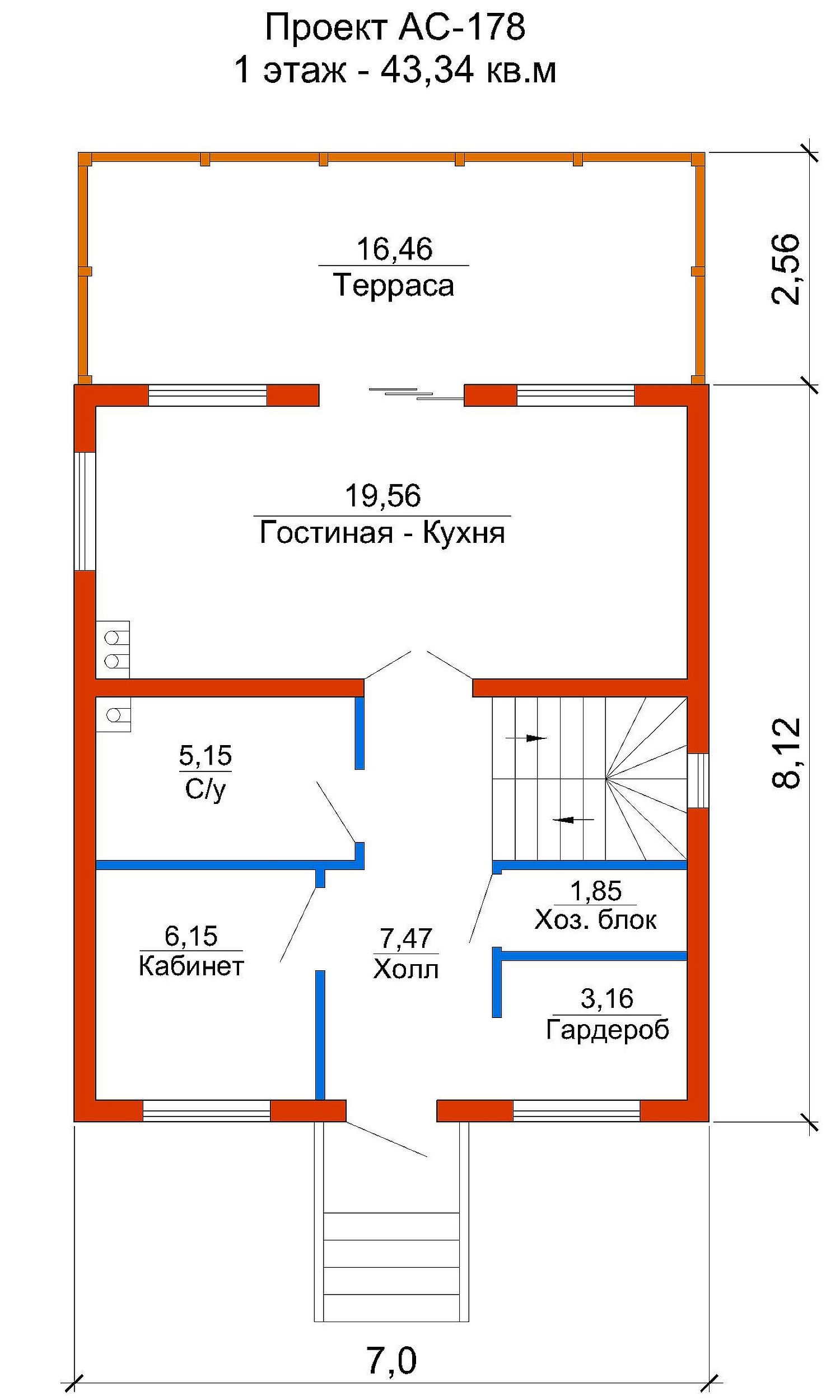 Проект каркасного дома 86 кв.м // Артикул АС-178 план