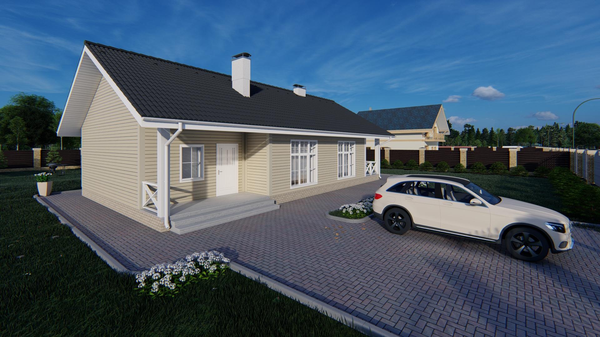 Готовый проект дома 83 кв.м // Артикул Каюр -180.1 фасад