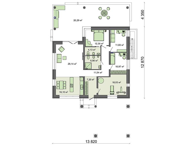 Проект дома 4m1458 план