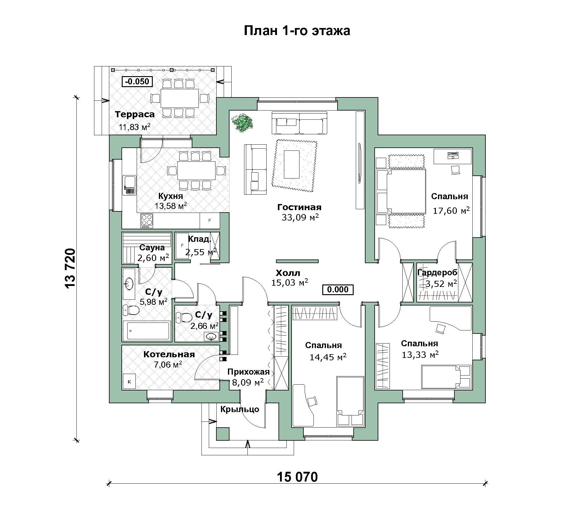 Проект финского дома А-07-20 план