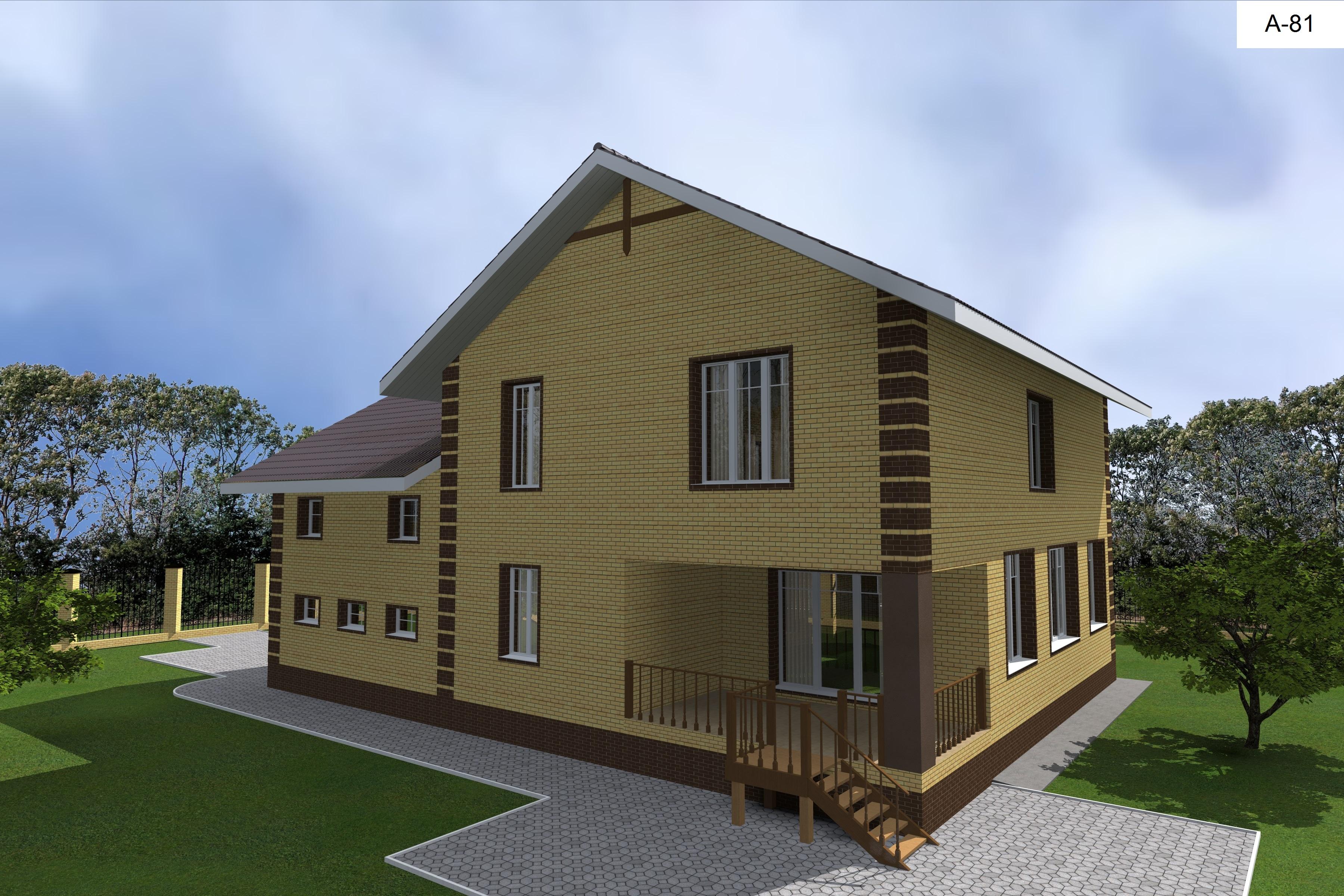 Готовый проект дома 180 кв.м // Артикул А-81 фасад