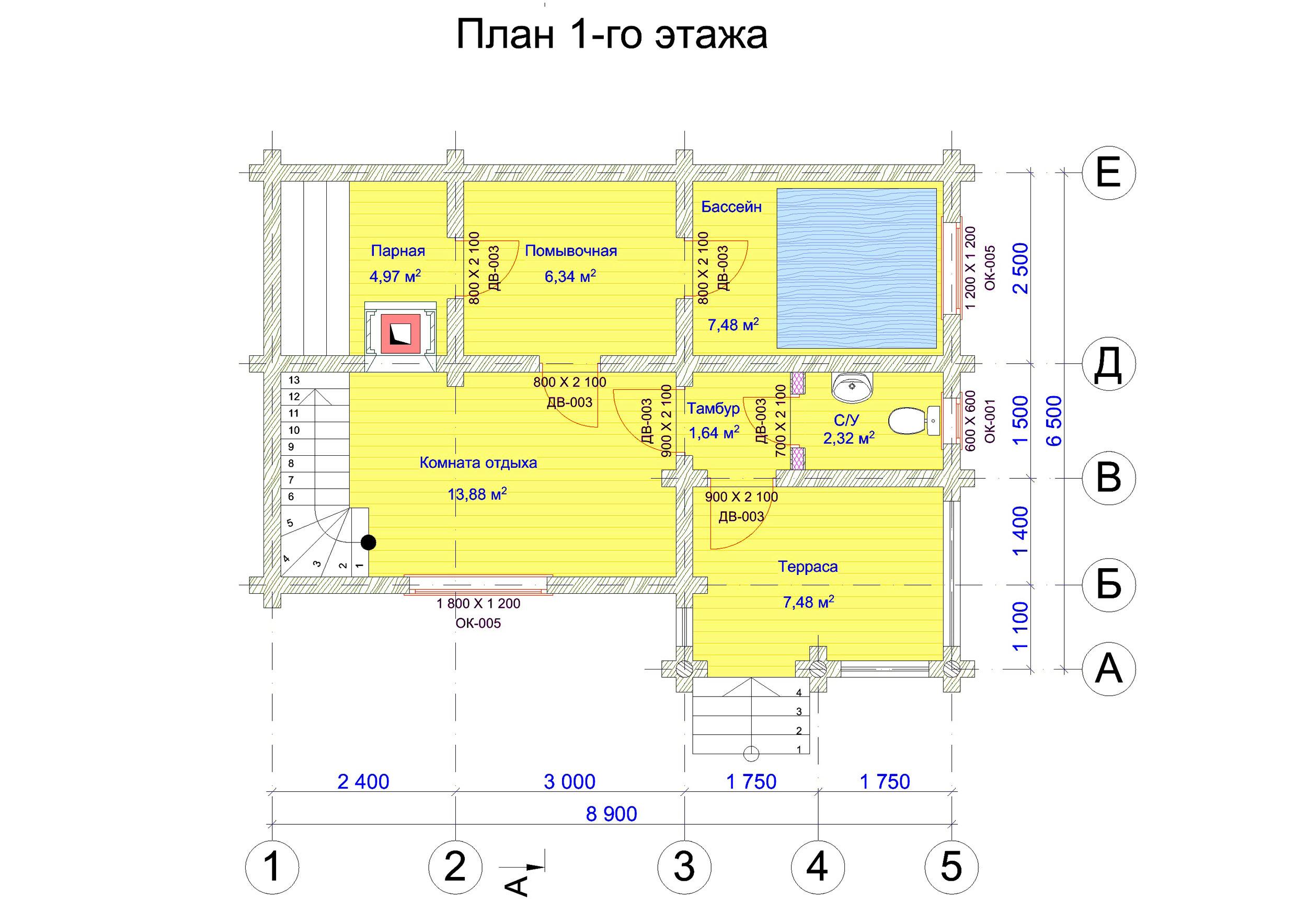 №4   S общая - 68,3 м2 план