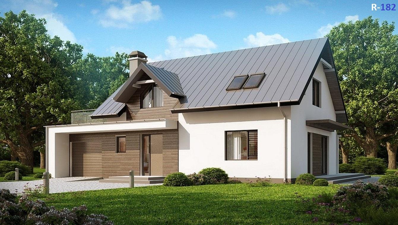 Проект коттеджа - 117 кв.м / / Артикул R-182 фасад