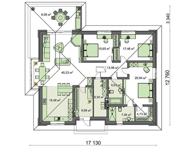 Проект дома 4m1469 план