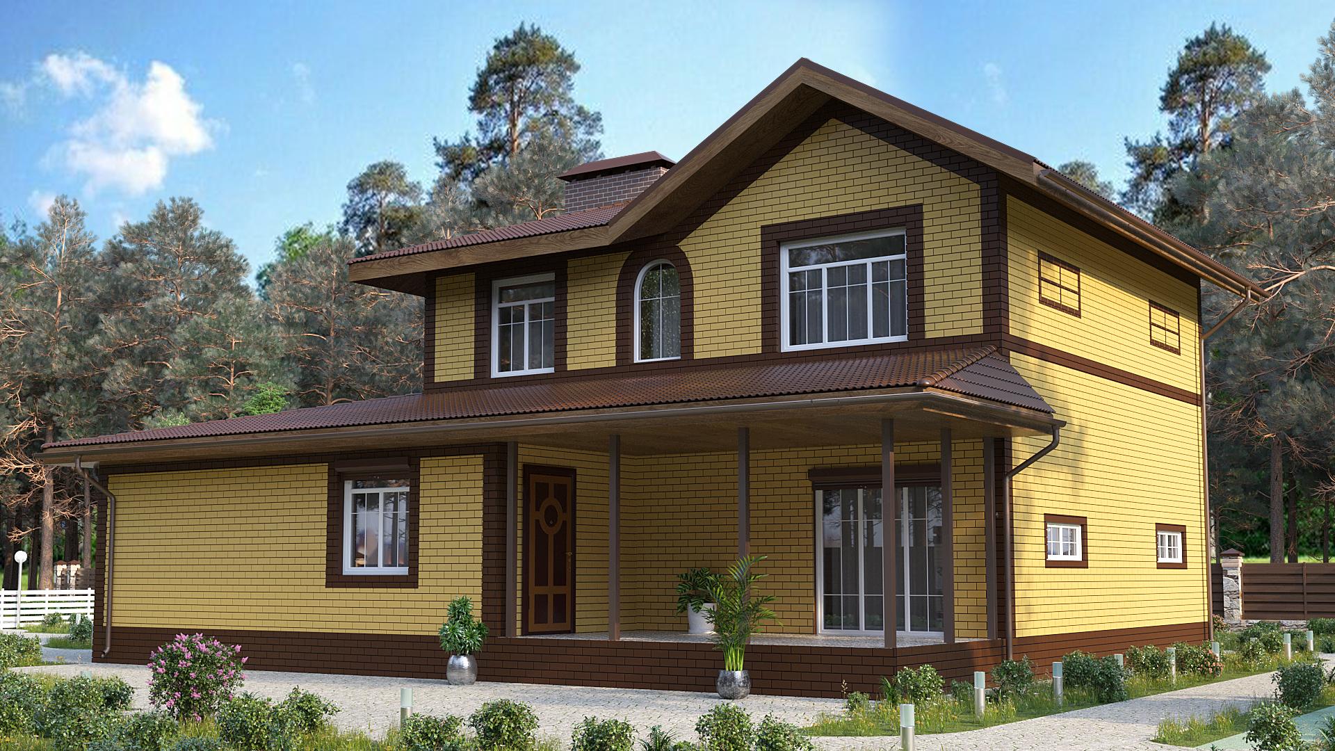 Готовый проект дома 109 кв.м // Артикул АЛ-183 фасад