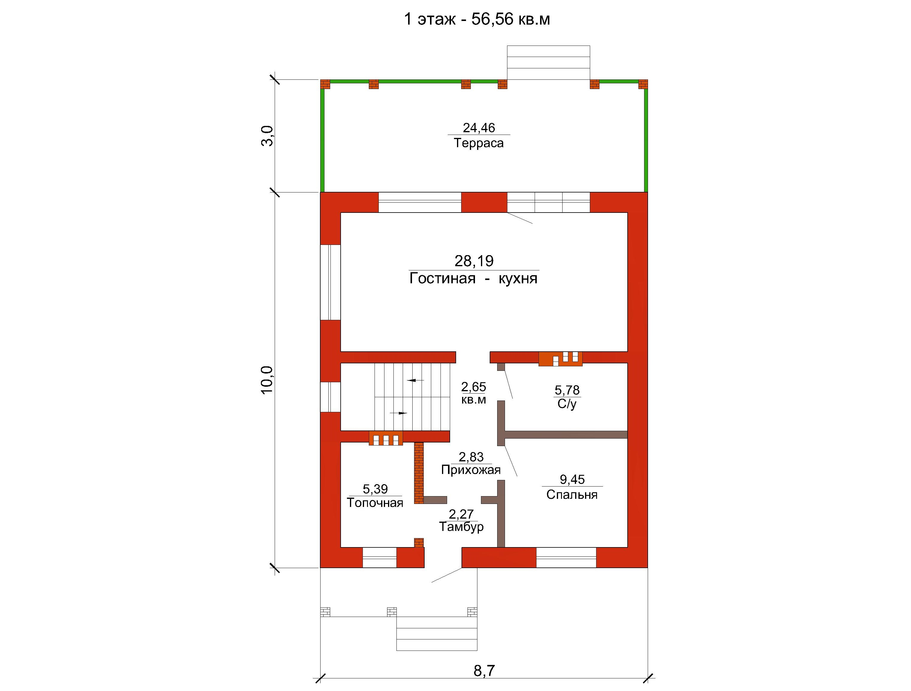 Готовый проект коттеджа 114 м2 / Артикул АЛ-186 план