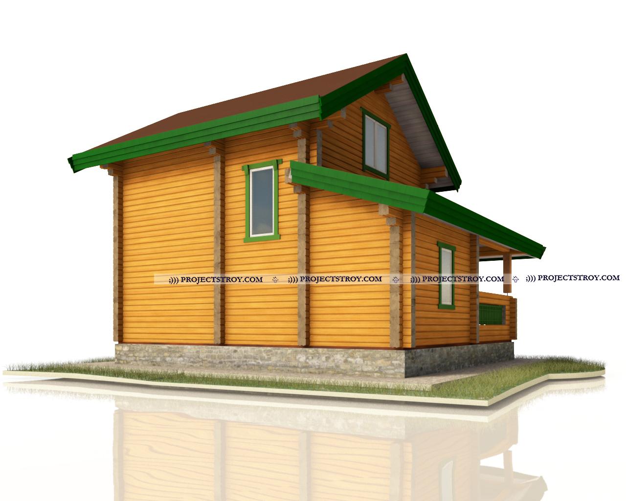 Дом из бруса с террасой фасад