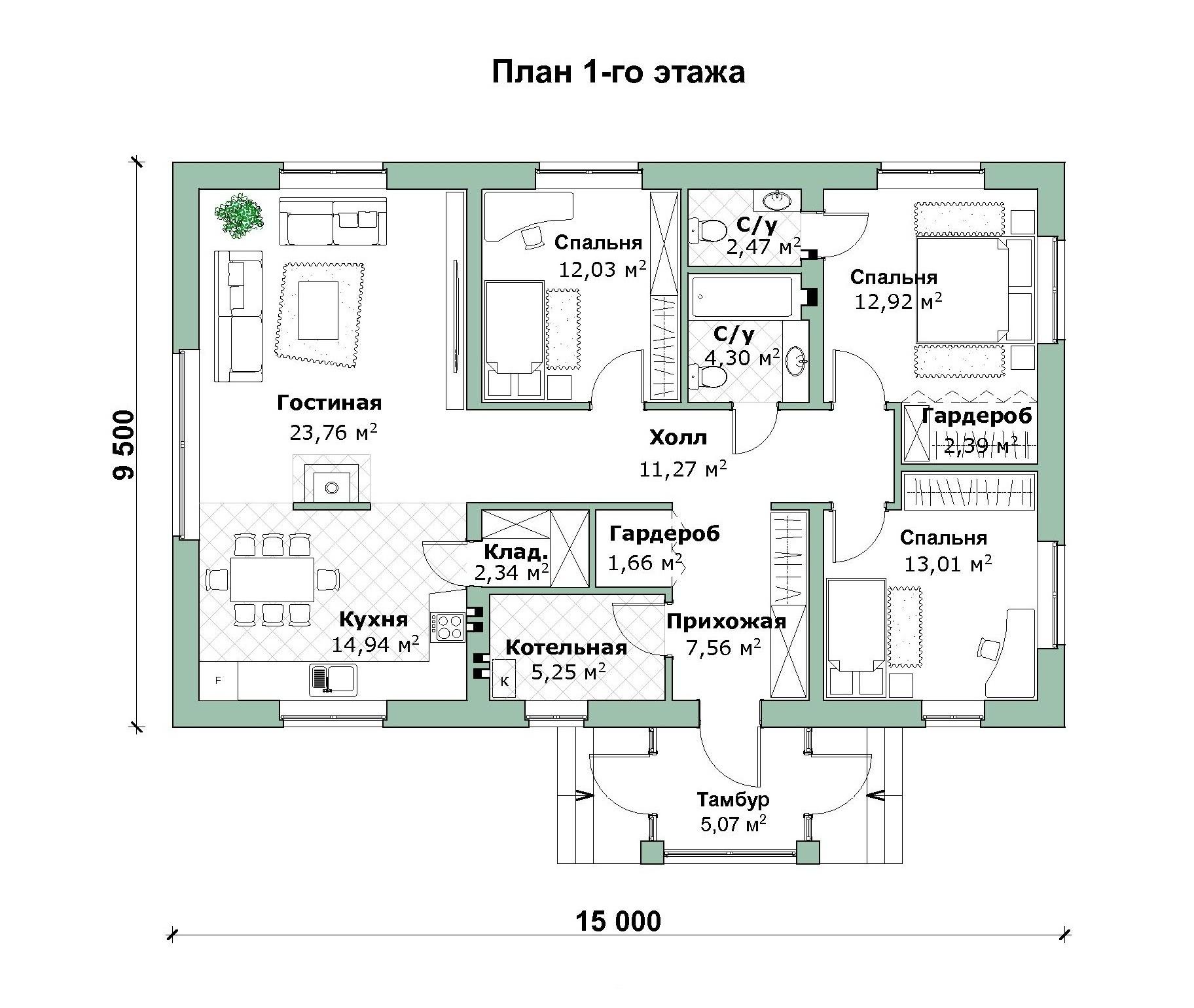 Проект дома в стиле БАРН - А-07-23 план
