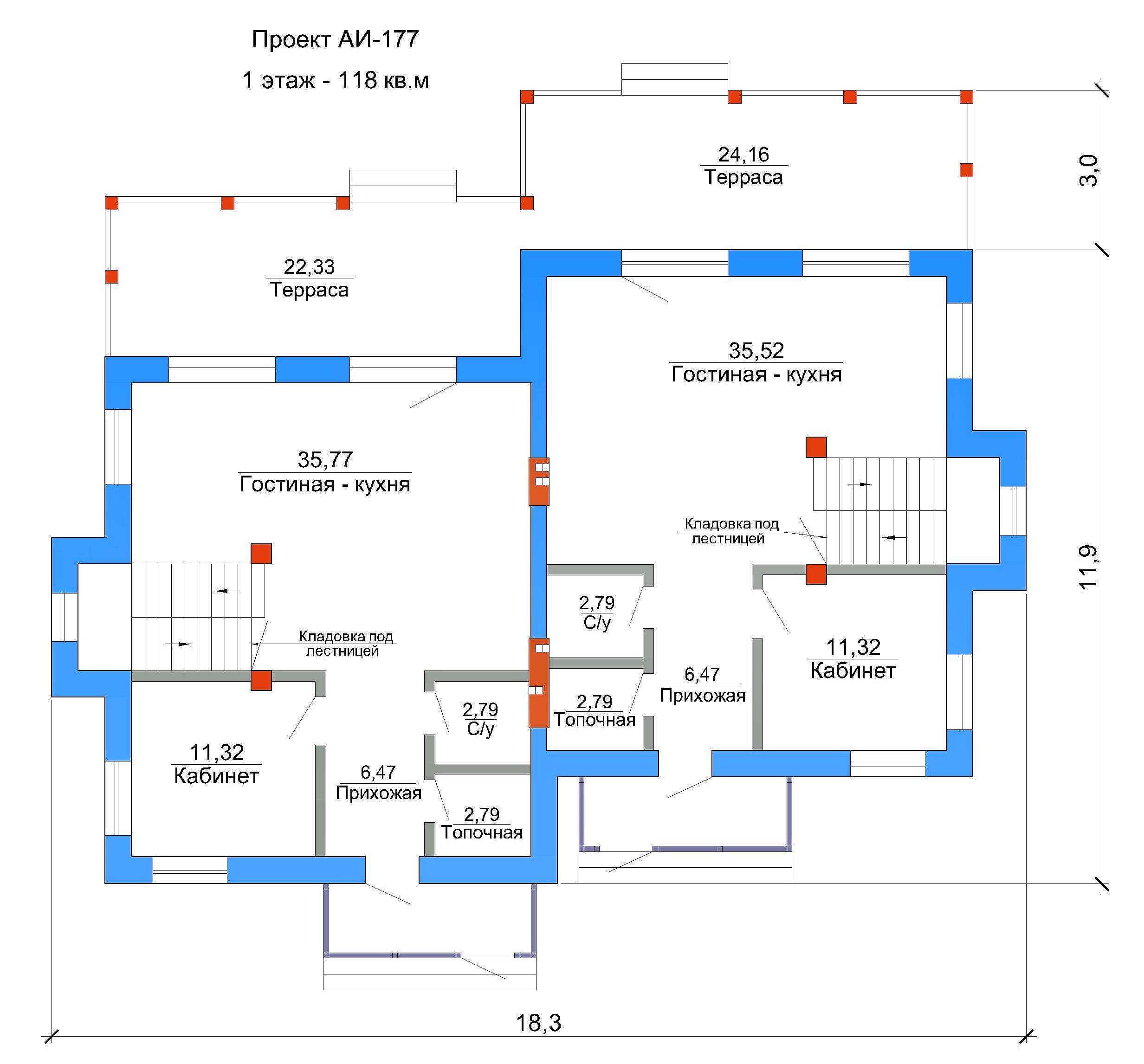 Готовый проект таунхауса 232 кв.м // Артикул АИ-17 план