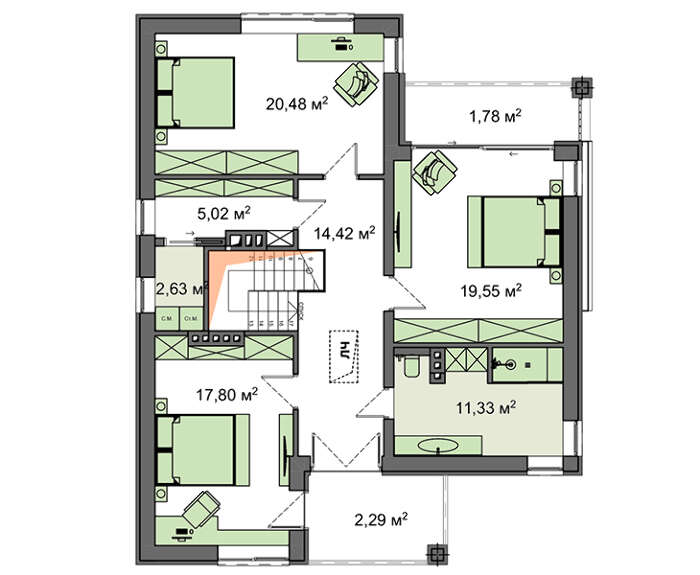 Проект дома 4m1480 план
