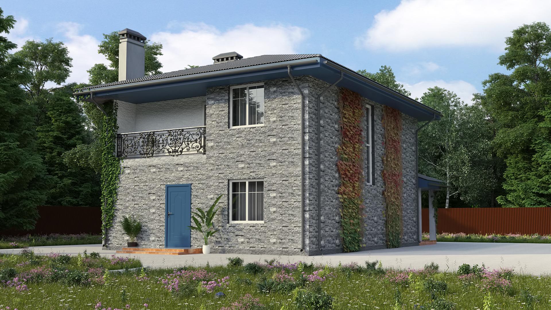 Готовый проект дома 125 кв.м // Артикул ИР-190 фасад