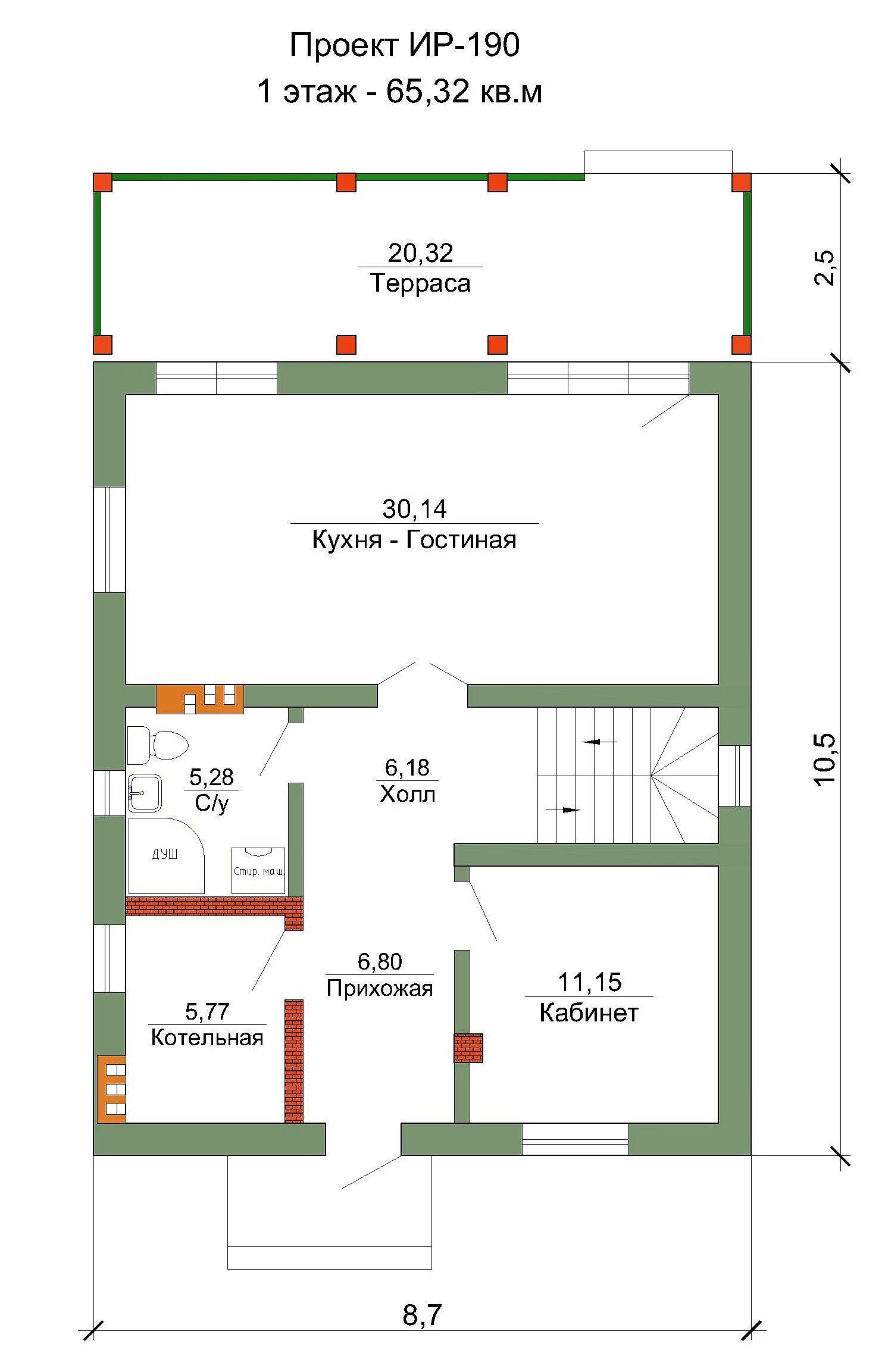 Готовый проект дома 125 кв.м // Артикул ИР-190 план