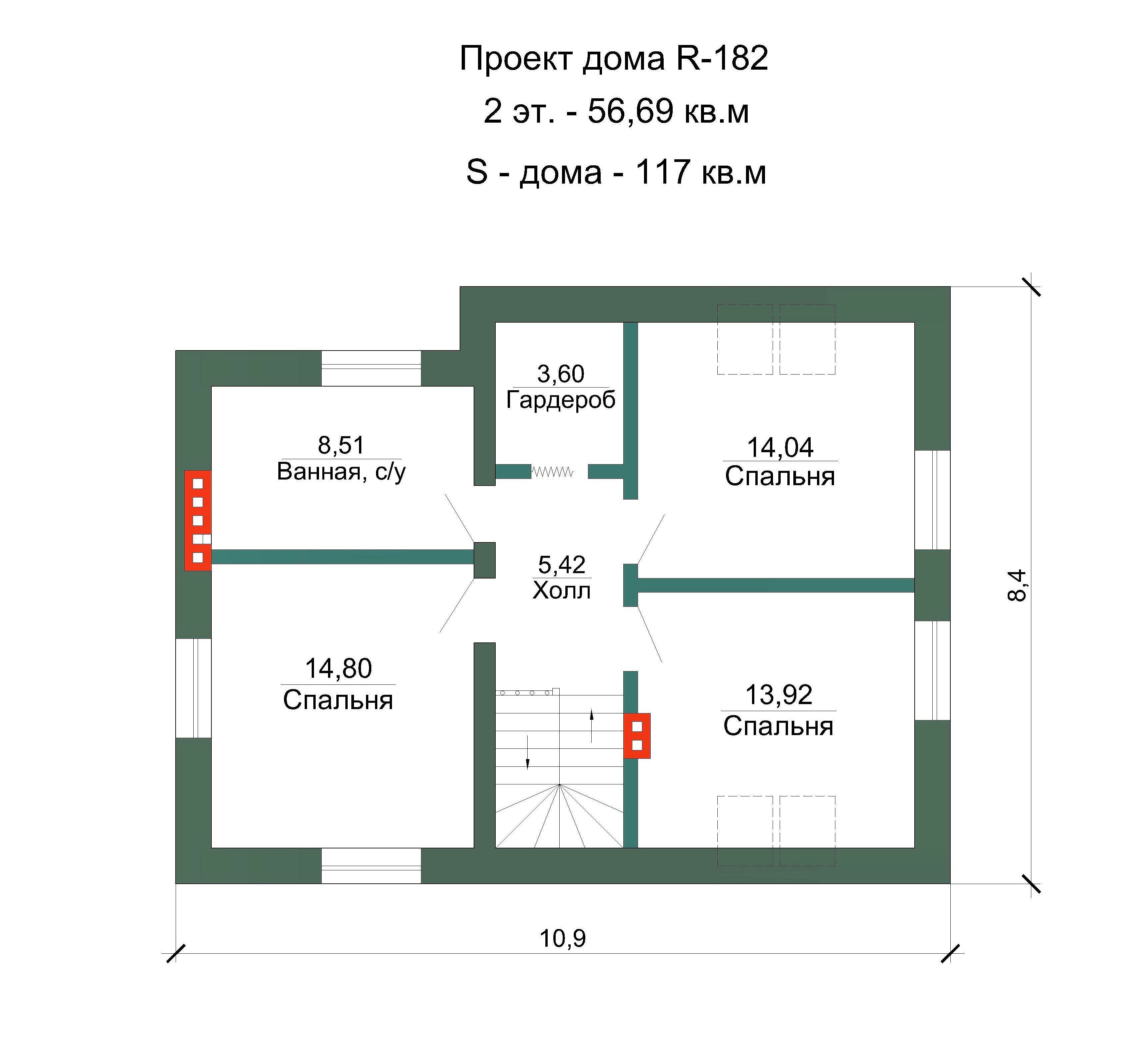 Проект коттеджа - 117 кв.м / / Артикул R-182 план