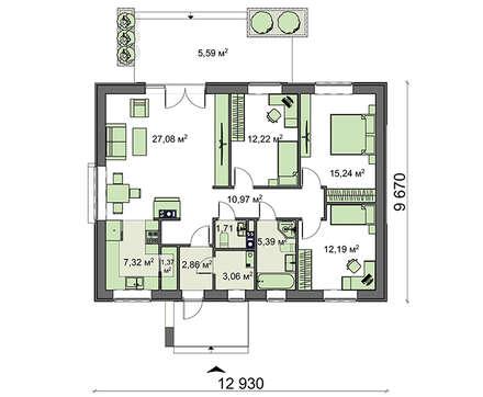 проект дома 4m3613b план