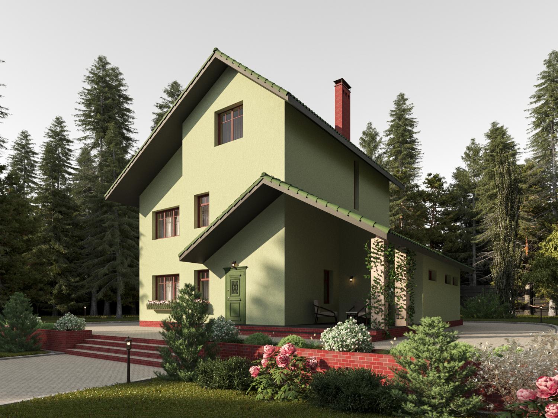 Готовый проект дома 192 кв.м // Артикул К-48 фасад