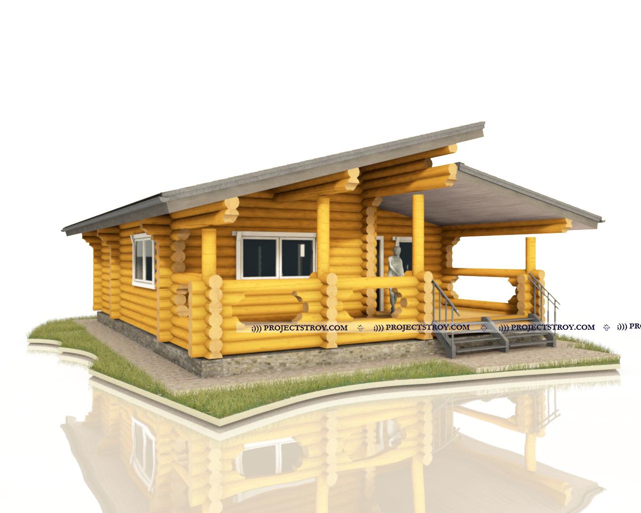 Дом из оцилиндрованного бревна фасад