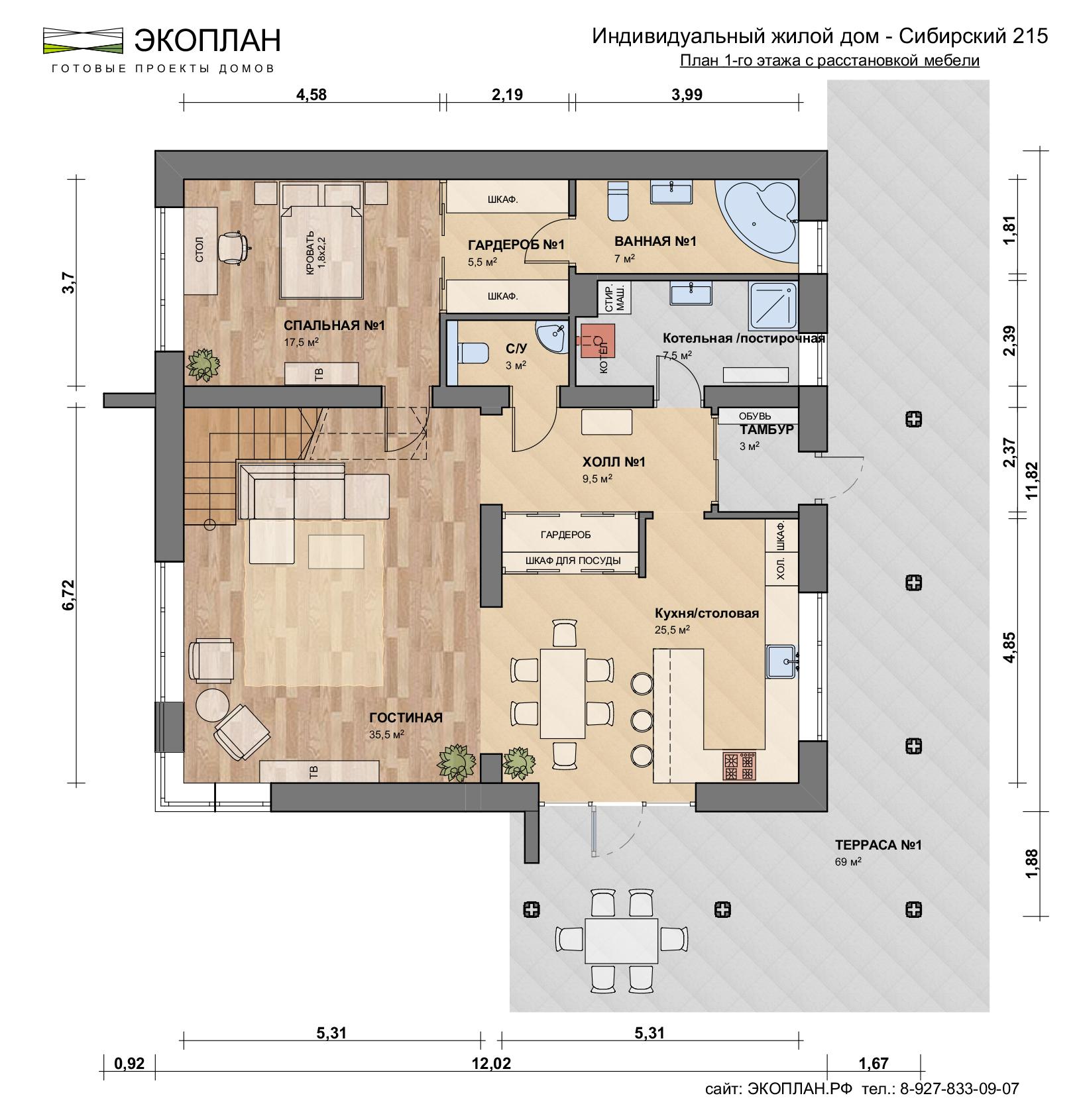 Готовый проект дома - Сибирский 215 - Экоплан.рф план