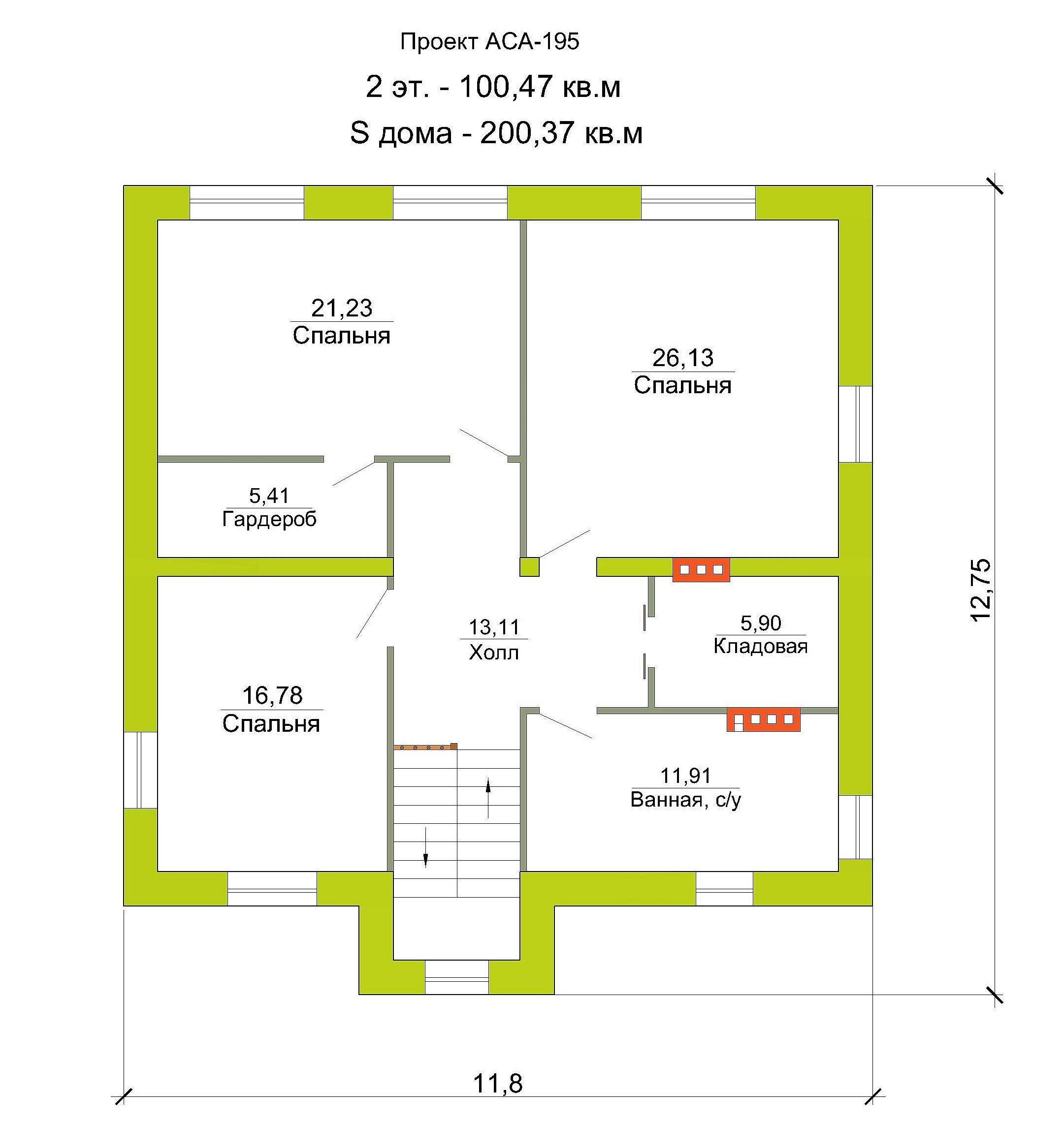 Готовый проект дома 200 кв.м // Артикул АСА-195 план