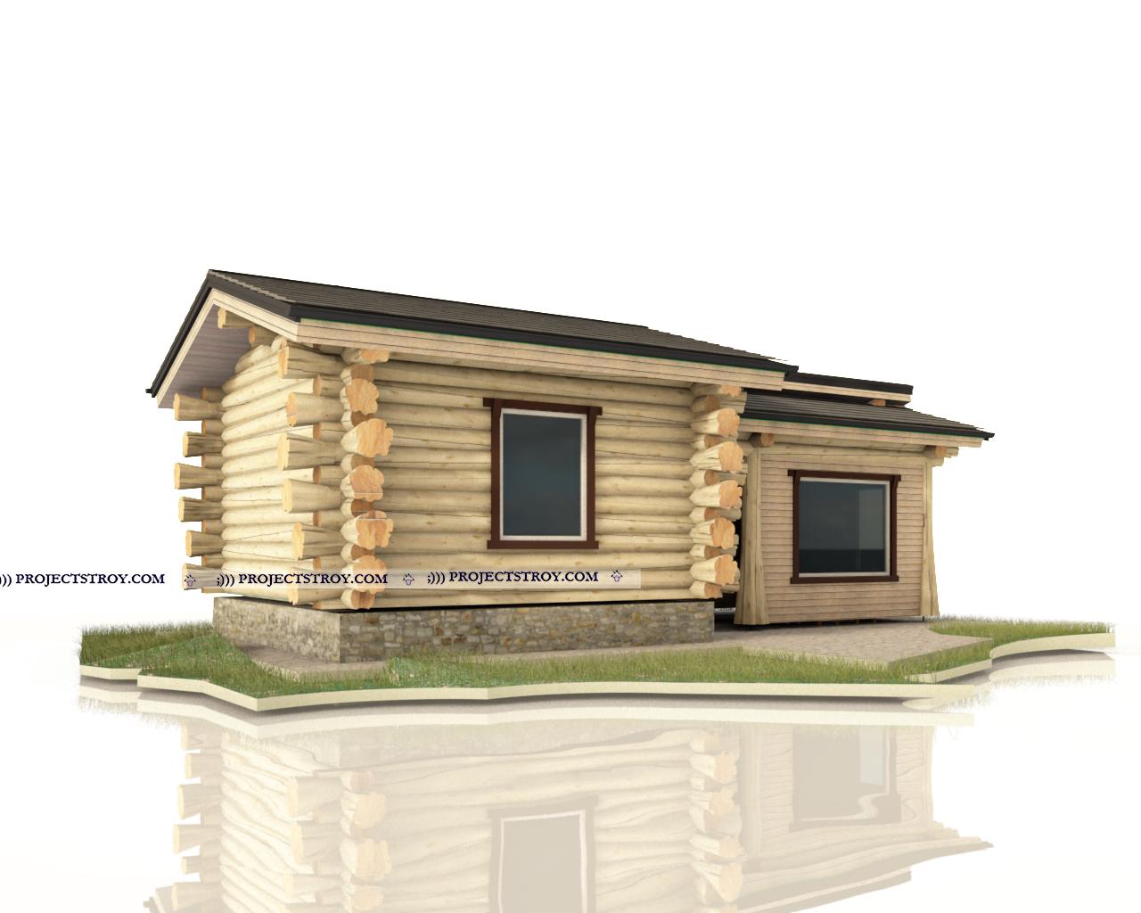 Баня с беседкой или хозпостройкой фасад