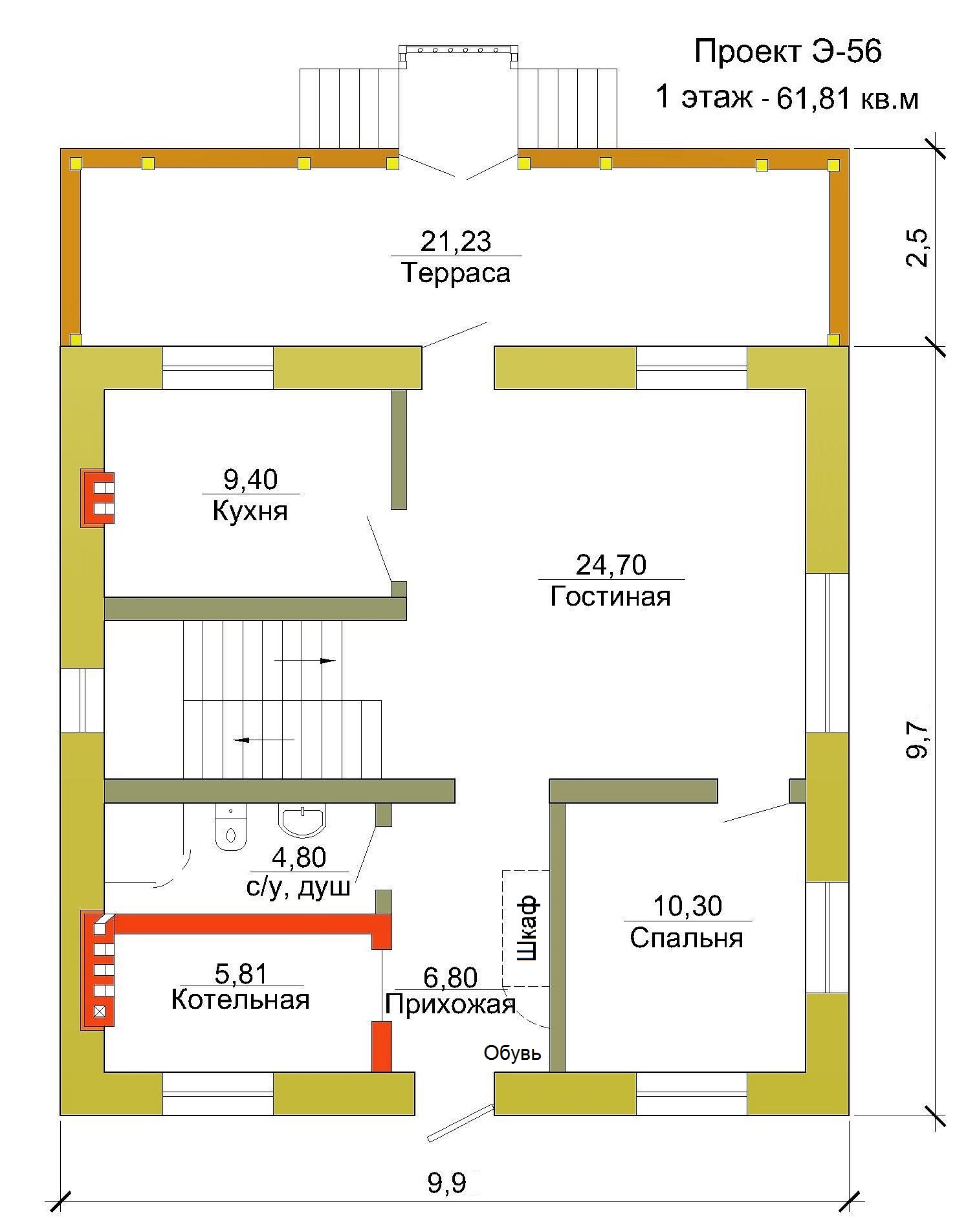 Готовый проект коттеджа 125 м2 / Артикул ЭР-56 план