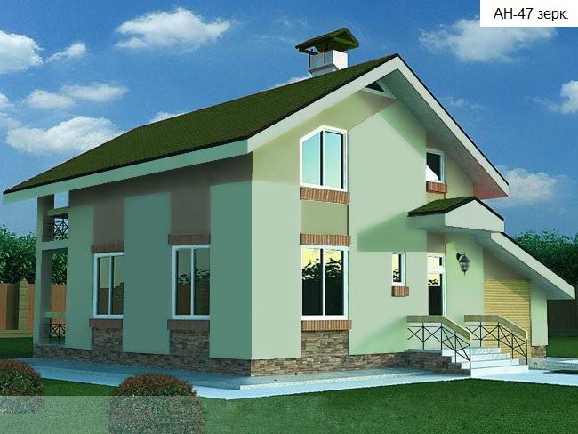Готовый проект коттеджа 120 м2 /Артикул AN.zr-47.2 фасад