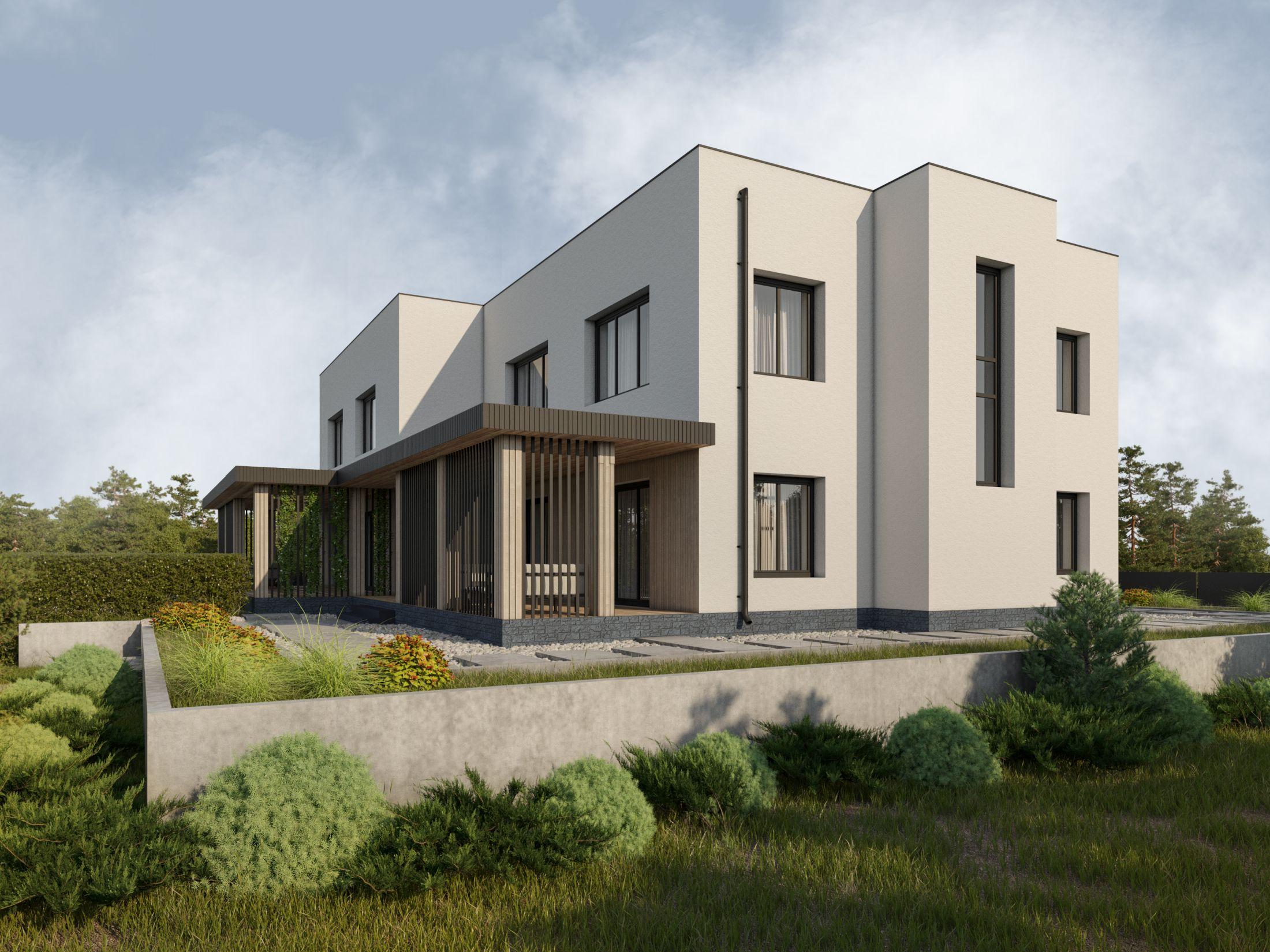 Готовый проект таунхауса 232 кв.м // Артикул АИ-17 фасад