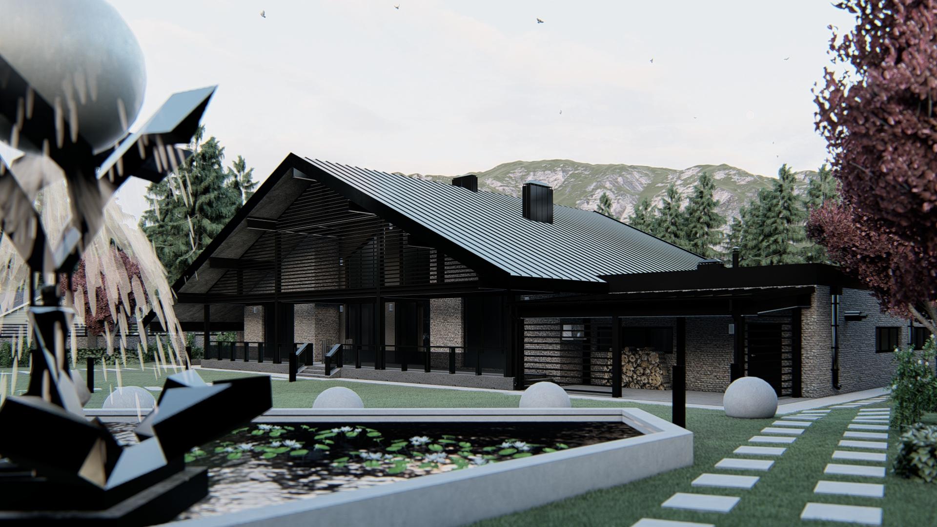 Проект загородного дома А 700 фасад