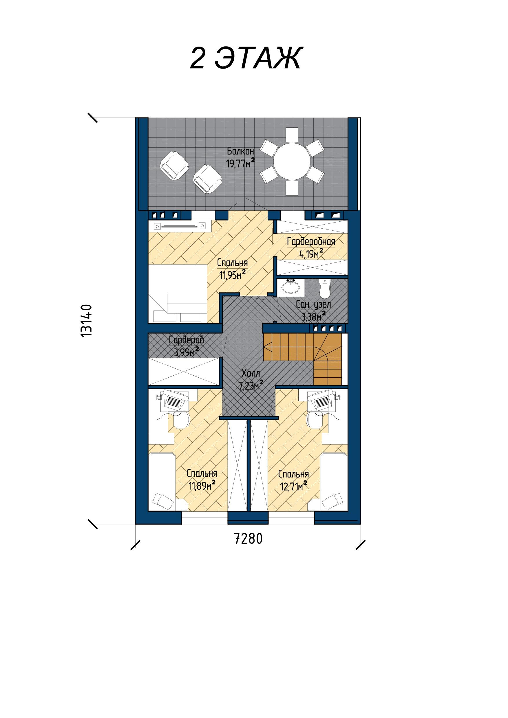 Двухэтажный проект загородного дома А 234 план