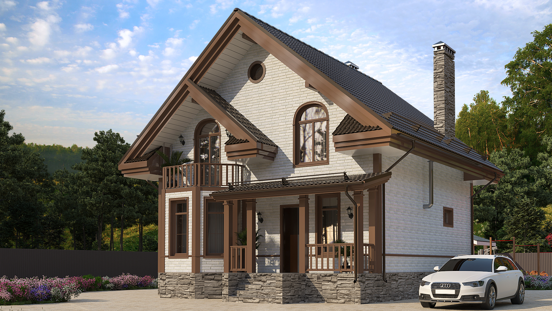 Готовый проект коттеджа 110 кв. м / Артикул amZ-85 фасад