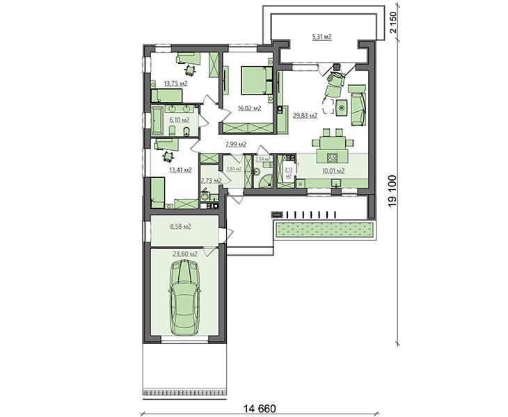 Проект дома 4m1495 план