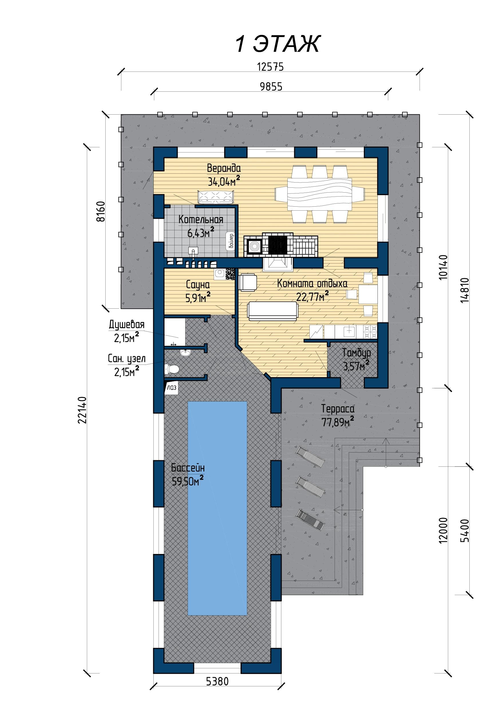 Банный комплекс с бассейном. Б 320 план