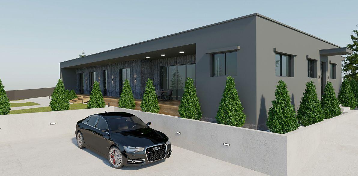 Проект коттеджа 235 кв.м // Артикул ЧЕ-211 фасад